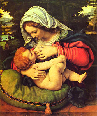 Virgin Mary Breastfeeding Jesus Art Print