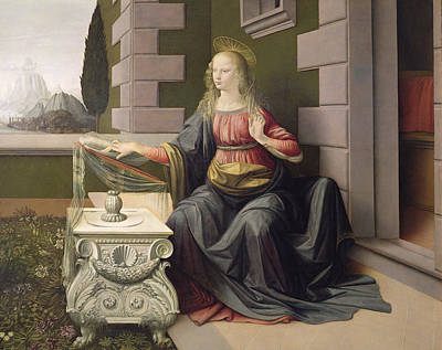 Curly Hair Painting - Virgin Mary, From The Annunciation by Leonardo Da Vinci