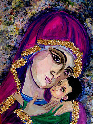 Mixed Media - Virgin Mary In Purple by Sarah Hornsby