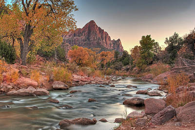 Virgin River And The Watchman Art Print