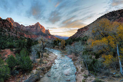 Photograph - Virgin River And The Watchman by Mark Whitt