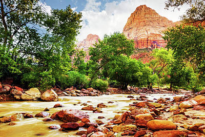 Virgin River In Zion National Park - Utah Usa Art Print by Susan Schmitz