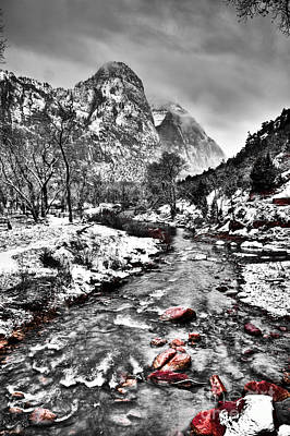 Zion National Park Digital Art - Virgin River Running IIi by Irene Abdou