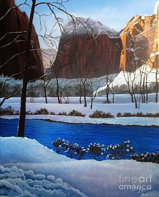 Zion National Park Painting - Virgin Snow Zion by Jerry Bokowski