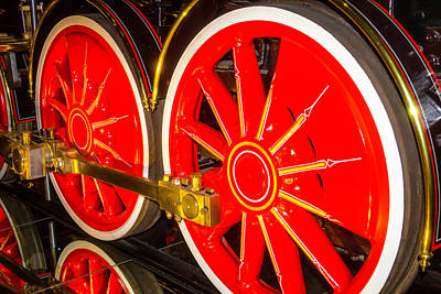 Thirteen Photograph - Virginia And Truckee Large Red Train Wheels by Garry Gay