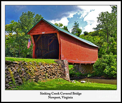 Photograph - Virginia Art - Sinking Creek Covered Bridge by Kerri Farley