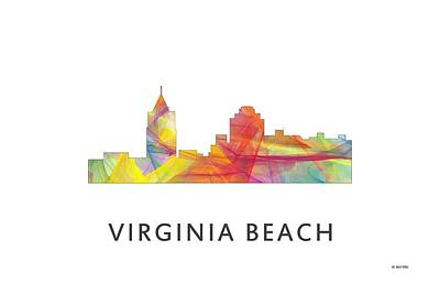 Virginia Beach  Virginia Skyline Art Print by Marlene Watson