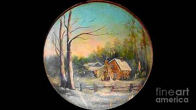 Thomas Kinkade Rights Managed Images - Virginia Cabin With Snow In A Sphere 19th Century Original Oil Royalty-Free Image by Michael Hoard