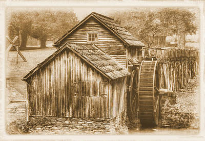 Photograph - Virginia Country Roads - Mabry Mill No. 23 Sepia - Blue Ridge Parkway, Floyd County by Michael Mazaika
