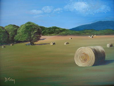 Bales Painting - Virginia Hay Bales by Donna Tuten