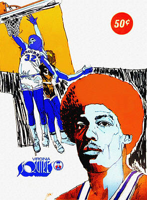 Julius Erving Painting - Virginia Squires Vintage Program by Big 88 Artworks