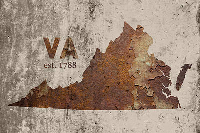 Virginia State Map Industrial Rusted Metal On Cement Wall With Founding Date Series 028 Art Print by Design Turnpike