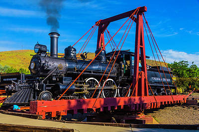 Photograph - Virginia Truckee 25 Train On Turntable by Garry Gay