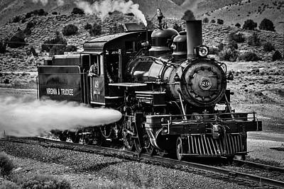 Virgina Photograph - Virginia Truckee Train In Black And White by Garry Gay