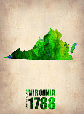 Us State Map Digital Art - Virginia Watercolor Map by Naxart Studio
