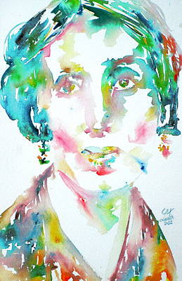 Woolf Painting - Virginia Woolf Watercolor Portrait by Fabrizio Cassetta