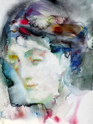 Woolf Painting - Virginia Woolf - Watercolor Portrait.3 by Fabrizio Cassetta