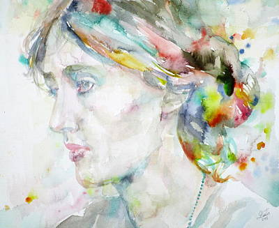 Woolf Painting - Virginia Woolf - Watercolor Portrait.4 by Fabrizio Cassetta