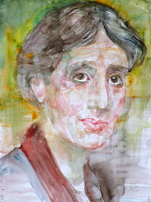 Woolf Painting - Virginia Woolf - Watercolor Portrait.7 by Fabrizio Cassetta