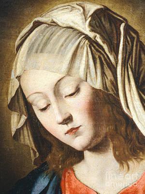 Sassoferrato Painting - Virgin's Face, Detail From Virgin In Prayer by Giovanni Battista Salvi da Sassoferrato