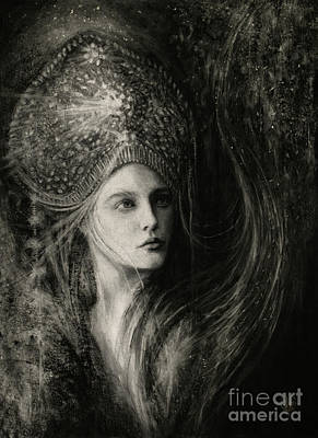 Spiritual Portrait Of Woman Drawing - Viriditas by Laura Krusemark
