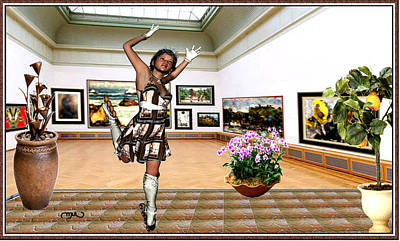 Post Impressionism Mixed Media - Virtual Exhibition - A Girl With A Pairro Dress by Danail Tsonev