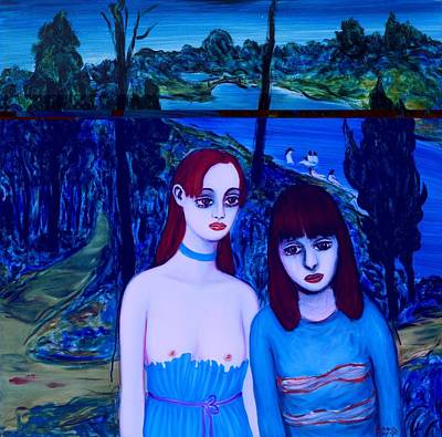 Virtual World-the Scenery Of The Two Girls Art Print