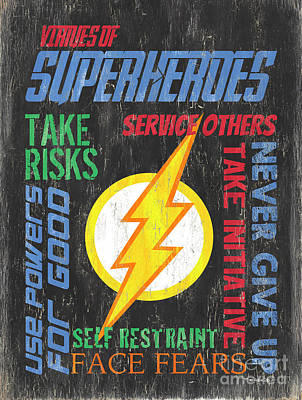 Virtues Of A Superhero 2 Art Print by Debbie DeWitt