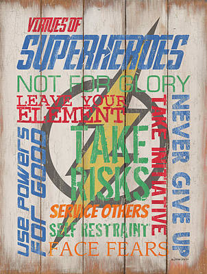 Virtues Of A Superhero Art Print by Debbie DeWitt