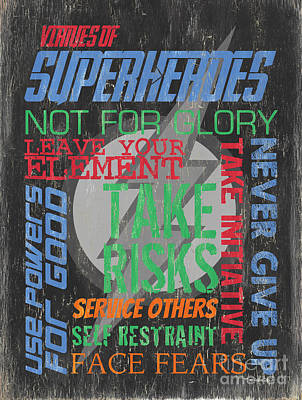 Virtues Of Superheroes Print by Debbie DeWitt