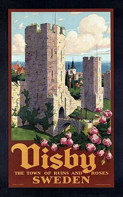 Roses Mixed Media - Visby, Gotland, Sweden - Town of Ruins and Roses - Retro travel Poster - Vintage Poster by Studio Grafiikka