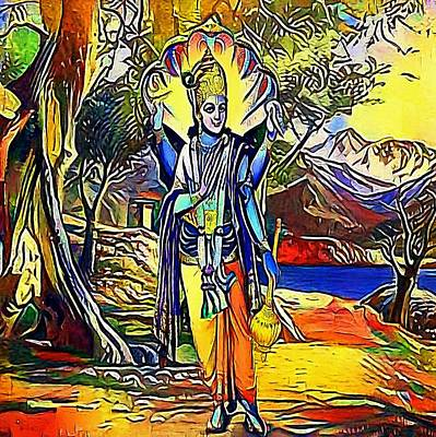 Hindu Goddess Digital Art - Vishnu, Hindu God - My Www Vikinek-art.com by Viktor Lebeda