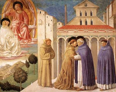 Painting - Vision Of St Dominic And Meeting Of St Francis And St Dominic by Gozzoli Benozzo
