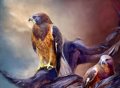 Hawk Mixed Media - Vision Of The Hawk 2 by Carol Cavalaris