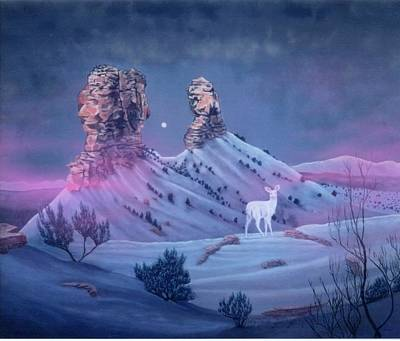 Vision Of The Legend Of White Deer Woman-chimney Rock Colorado Art Print