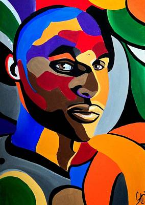 Painting - Visionaire Male Abstract Portrait Painting Chromatic Abstract Artwork by Ai P Nilson