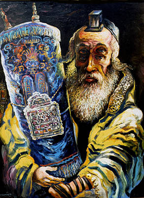 Roussimoff Wall Art - Painting - Visionary Prophet, The Rabbi With Torah by Ari Roussimoff