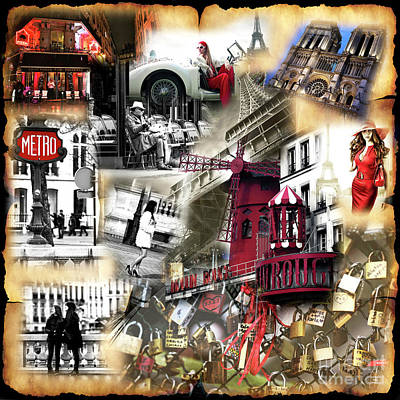 Photograph - Visions Of Paris Collage by John Rizzuto
