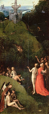 Religious Art Painting - Visions Of The Hereafter, Terrestrial Paradise by Hieronymus Bosch