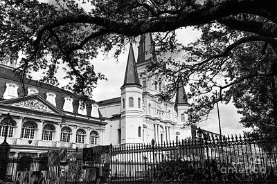 Photograph - Visions Of The St. Louis Cathedral Mono by John Rizzuto