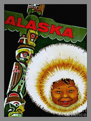 Digital Art - Visit Alaska - Vintage Poster by Ian Gledhill