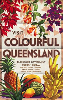 Travelling Mixed Media - Visit Colorful Queensland - Vintage Poster Folded by Vintage Advertising Posters