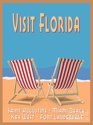 Digital Art - Visit Florida Saint Augustine Miami Beach Key West Fort Lauderdale by Edward Fielding