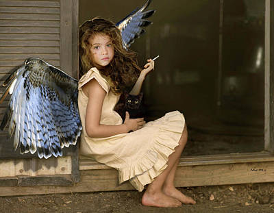 Angels Smoking Photograph - Visit From An Angel, Taking A Break From A Busy Day by Thomas Pollart