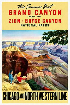 Mixed Media - Visit Grand Canyon - Restored by Vintage Advertising Posters