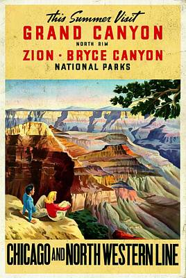 Mixed Media - Visit Grand Canyon - Vintgelized by Vintage Advertising Posters