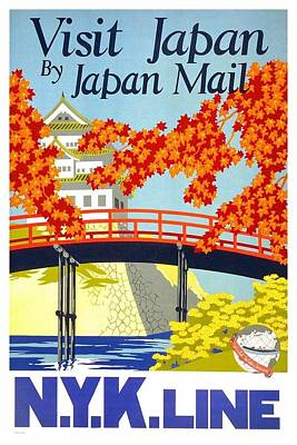 Royalty-Free and Rights-Managed Images - Visit Japan by Japan Mail - N.Y.K Line - Retro travel Poster - Vintage Poster by Studio Grafiikka