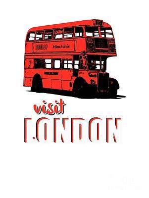 Visit Drawing - Visit London Tee by Edward Fielding