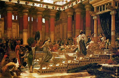 Visit Of The Queen Of Sheba To King Solomon Art Print by Edward Poynter