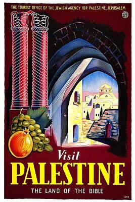 Mixed Media - Visit Palestine, Jerusalem - The Land Of The Bible - Retro Travel Poster - Vintage Poster by Studio Grafiikka